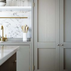 Kitchen - Grey units - Marble bench top - Brass details - Contemporary - ESNY