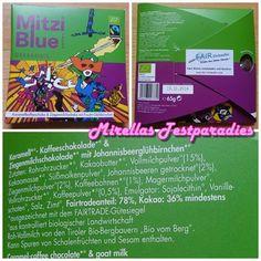 Die Zotter – Mitzi Blue: Überdosis Karamell-Kaffee und Ziegemilchschokolade mit Johannisbeerglühbirnchen.