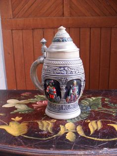 Original Tewalt German Beer Stein, Hand Painted Beer Stein by AdmirasTreasure on Etsy