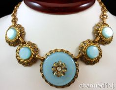 "Victorian Revival Blue Moonglow Lucite Gilt Brass Collar Necklace 14""L 1950's #Unbranded #Collar"