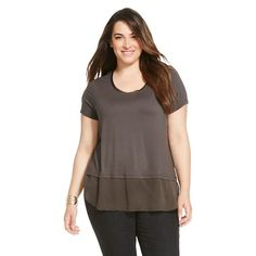 Women's Plus Size T-Shirt with Printed Layer - Merona™ - Alloy Gray