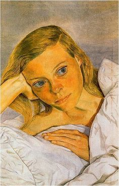 """Lucian Freud (1931-1952), """"Girl in bed"""" (1952).  This is a portrait of his then spouse, Lady Caroline Blackwood, who went on to become a major writer, and who subsequently married Israeli pianist Israel Citkowitz and, in her third marriage, poet Robert Lowell. [Wikipedia]"""