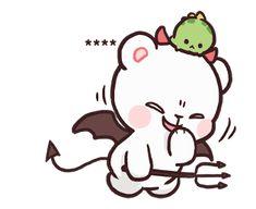 สติ๊กเกอร์ไลน์ Milk & Mocha: Custom Stickers - line2me.in.th Emoji Drawings, Cute Bear Drawings, Cute Little Drawings, Cute Kawaii Drawings, Cute Love Pictures, Cute Love Gif, Cute Couple Cartoon, Cute Love Cartoons, Gif Mignon