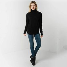 Natural white. Long-sleeved mock-turtleneck sweater in a fine knit ...