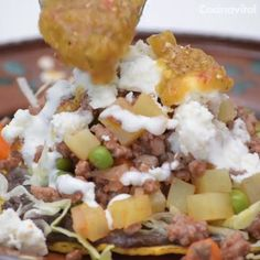 Tostadas de picadillo - Healthy Eating İdeas For Exercise Pork Recipes, Cooking Recipes, Healthy Recipes, Mexican Cooking, Mexican Food Recipes, Tostadas, Good Food, Yummy Food, Cheat Meal