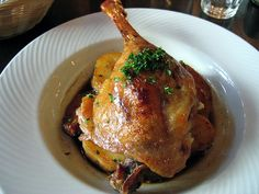 Duck Confit (use duck fat, it's actually healthier than oil if cooking at high temps)