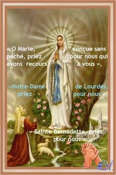 This lovely Our Lady of Lourdes holy card, with St. Bernadette kneeling before Our Mother, is laminated and has a prayer to Our Lady of Lourdes on the back. Catholic Gifts, Catholic Art, Religious Art, Blessed Mother Mary, Blessed Virgin Mary, St Bernadette Soubirous, Immaculée Conception, Mama Mary, Queen Of Heaven