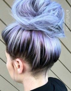 Pastel blue dyed hair color-messy bun style selected by Twisted Hair, Hair Dye Colors, Coloured Hair, Hair Color Dark, Light Blue Hair, Dye My Hair, Hair Images, Mermaid Hair, Grunge Hair