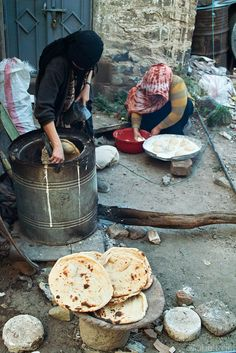While walking the narrow streets in Sana'a, Yeman, trying to find a better angle for taking a picture of one minaret, we were invited to a courtyard where women were baking bread. Soon after we had been offered some tasty bread straight from the oven we were already invited into the home itself. We were sat on the floor, and before we knew we were already munching on delicious local food. If this isn't hospitality I do not know what is!