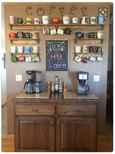 Create a DIY Coffee Bar in your home. Inspired by coffee shops, this DIY coffee bar is the perfect addition to any coffee lover's home. Click through to see how to build it plus, free plans to build your own just like this one! Coffee Nook, Coffee Bar Home, Coffee Wine, Coffee Corner, Coffee Cup Storage, Mug Storage, Coffee Mug Display, Coffee Cup Holder, Coffee Drinks