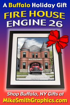 Highly detailed drawing featuring Engine House No. 26 in Buffalo, NY by Western NY artist Michael Smith. Shop for unique artwork in a variety of subjects at MikeSmithGraphics.com. Engine House, Limited Edition Prints, Holiday Gifts, Wall Art Prints, Buffalo, Engineering, Ink, Drawings, Unique