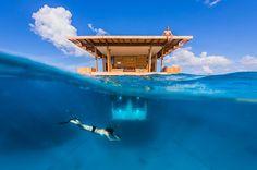 """Tagsüber auf der Terrasse Sonnenbaden und  sich in die kühlen Wellen stürzen und nachts Fische beobachten - so verläuft ein ganz normaler Tag im Manta Resort auf der  kleinen Insel Pemba. Zwar lautet die Beschreibung """"Hotelzimmer"""", aber genaugenommen handelt es sich hierbei um eine Art Floß mit einer Unterwasserkoje. Das Besondere an diesem Schlafzimmer sind die großen Fenster, die es erlauben, die  faszinierende Unterwasserwelt von ganz nah zu beobachten. www.itravel.de/yolo.html"""