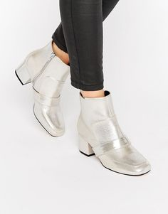 dfc73747bbc ASOS RANORA Loafer Ankle Boots - Silver Vegan Fashion