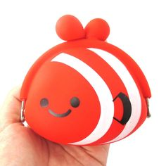Cute Red Nemo Fish Shaped Mimi Pochi Animal Friends Silicone Clasp Coin Purse Pouch