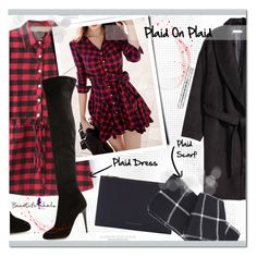 """Plaid On Plaid #11: Beautifulhalo.com"" by chocolate-addicted-angel ❤ liked on Polyvore featuring Jimmy Choo, Victoria Beckham, women's clothing, women, female, woman, misses and juniors"