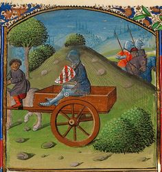 Lancelot et l'Humiliation de la Charrette (enluminure, vers 1475) qui a donné le fameux titre Le Chevalier à la Charrette.