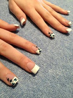 French acrylics with leopard print