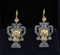 Very rare Victorian memento mori diamond skull urn earrings.