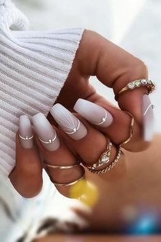 30 Wow Wedding Nail Ideas ❤ nail ideas original geometry nail design with silver rhinestones ewuleeek Are you dreaming about the perfect bridal look? Don't forget to choose cool design for your nails. You will find in our gallery cute wedding nail ideas. Pink Nails, Gel Nails, Nail Nail, Coffin Nails, Nail Polish, Pastel Nails, Toenails, Wedding Nails Design, Nail Wedding