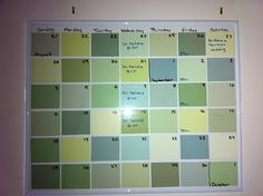 paint-chip dry erase calendar by sophie