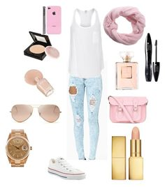 """:)"" by arneela-becic ❤ liked on Polyvore featuring Converse, Splendid, The Cambridge Satchel Company, Ray-Ban, Rolex, AERIN, Zoya, Chanel, Maybelline and Parker Blue"