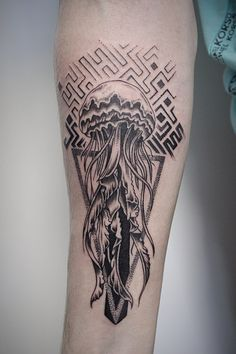 Jellyfish tattoo on forearm whip shading by Pozdeev Denis Jellyfish Tattoo, Forearm Tattoos, Tattoo Photos, Tattoo Artists, Dots, Shades, Female, Style, Tattoos