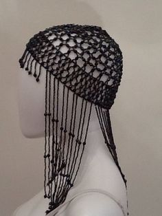 1920'S Style Vintage Blue Irredescent Beaded Fringe Headpiece Os