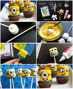 Can't get enough of these ever adorable Universal Picture character from Despicable Me-Minions? If your kid love the movie and w. Minion Theme, Minion Birthday, 4th Birthday Parties, 2nd Birthday, Birthday Ideas, Marshmallow Sticks, Despicable Me Party, Festa Party, Frozen Birthday Party