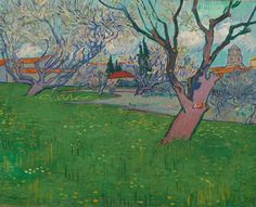 "Vincent wrote to his brother Theo on the 2nd of July 1889: ""I still have canvases in Arles that weren't dry when I left, I very much want to go and get them one of these days in order to send them to you.""   Shortly after this, he collected six canvases from Arles and sent them to Theo. 'Orchard in blossom with a view of Arles' was one of them.  Vincent van Gogh (1853 - 1890), Orchard in blossom with a view of Arles, 1889. Van Gogh Museum, Amsterdam (Vincent van Gogh Foundation)."