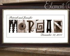 Alphabet Art Sepia Name Print, Custom Anniversary and Wedding Gift - Frame on your own - 10x20
