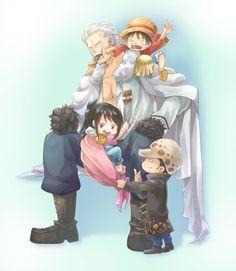 Smoker with Tashigi, Luffy, and Law