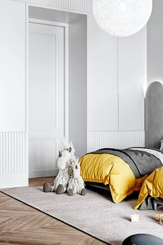 Grey neoclassical interior with colourful accents. A family home with unique kids rooms, a neoclassical style lounge, metallic kitchen, and a bijou dining room. Vsco, Neoclassical Interior Design, Kids Bedroom, Bedroom Decor, 1930s Bedroom, Decor Room, 3d Max Vray, Unique Shelves, Style Lounge