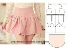 DIY Short Petal Skirt - And Lots Of Free Sewing Patterns Drafts       #sew #pattern