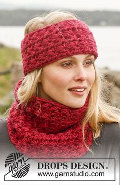 """Crochet DROPS head band and neck warmer in """"Eskimo"""". ~ DROPS Design"""