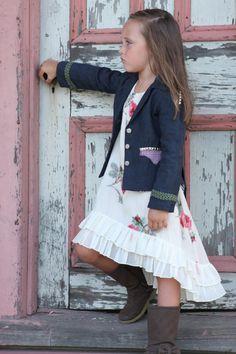 Girls Navy Linen Studded Blazer Jacket  by sanguinetticlothing, $122.00