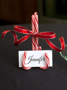 Candy Cane Place Cards | 15 DIY Candy Cane Decorations You Will Love, see more at http://diyready.com/15-diy-candy-cane-decorations-you-will-absolutely-adore