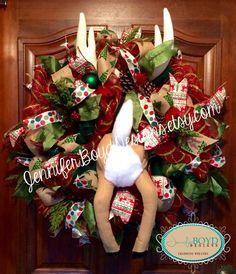 Reindeer wreath by Jennifer Boyd Designs.  www.facebook.com/JenniferBoydDesigns www.etsy.com/shop/JenniferBoydDesigns