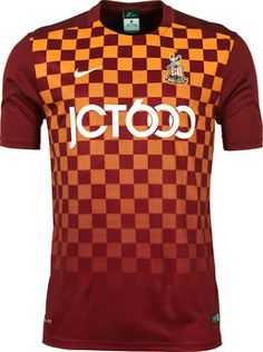 The new Nike Bradford City Home Kit boasts a striking design, while the black Bradford City Away Shirt features a subtle chequered pattern. Rugby, Bradford City Afc, City Shorts, Football Kits, Premier League, Soccer, Nike, Shirt, Sportswear