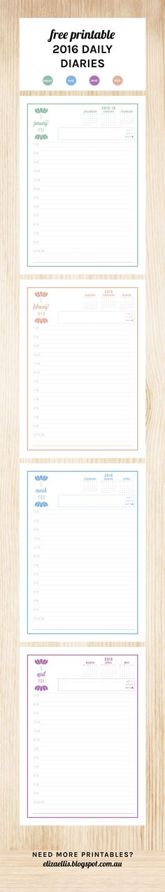 Free Printable 2016 Daily Diary by Eliza Ellis. Available in 4 colors and with a coordinating Daily To-Do List. Check out my blog for loads more planners, diaries, calendars and organizers!