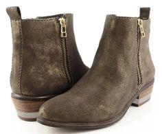 $85 STEVEN STEVE MADDEN ROGER Gold Distressed Nubuck Designer Zipper Ankle Boots 6.5 #StevenbySteveMadden #FashionAnkle