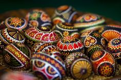 Brightly decorated eggs,