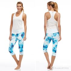 Go tropical in this summer-ready workout look.  White Water outfit by Fabletics