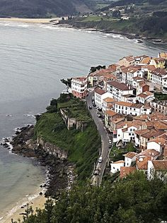 Lastres, Asturias. (This is the view from the hill above the town of Lastres--it is truly gorgeous-L)