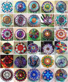 mandalas painted on old CDs