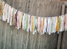 Vintage Inspired Shabby Torn Fabric Rag Garland Banner Bunting, Wedding Party Decor