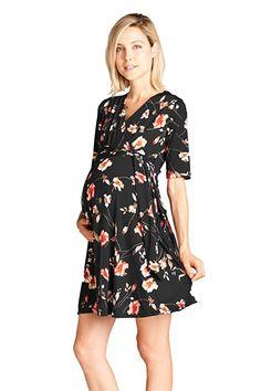 2b86a3237ed35 This Hello Miz Navy & Red Floral Maternity/Nursing Wrap Dress by Hello Miz  Maternity is perfect!