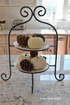 Autumn Table and White Pumpkin Vignettes - Fall Decorating Ideas for the Kitchen.  #falldecor #whitepumpkins #tieredtray #tieredtraydecor #falldecorating