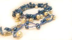 Boho Chic unique gift for woman,bohemian beaded bracelet,blue crochet elegant  bracelets,gift idea for her,wedding bracelet , wrap bracelet