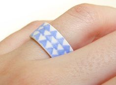 Porcelain Jewelry Blue Triangles Wide Band by clacontemporary, via Etsy. Porcelain Jewelry, Ceramic Jewelry, Ceramic Art, 30 Birthday Gifts, Handmade Jewelry, Unique Jewelry, Handmade Gifts, Jewellery Uk, Turquoise Rings