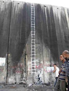 Banksy graffiti on West Bank Israeli barrier -Palestine 2005